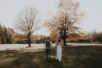Autumn's leaves adding Wabi-Sabi to our wedding